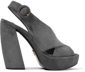 Prada Suede Platform Sandals - Anthracite