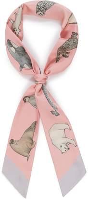 Cjw 'Winter Animal Twilly' graphic print silk skinny scarf