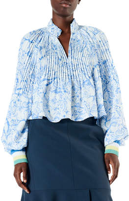 9f4c8e177a990 Tibi Isa Toile Pleated Cropped Blouse with Ribbed Cuffs