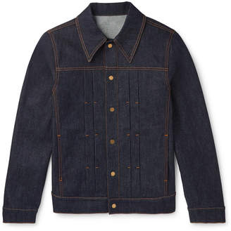 Dunhill Leather-Trimmed Pleated Stretch-Denim Jacket