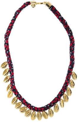 Tory Burch Puka Shell Woven Charm Collar Necklace