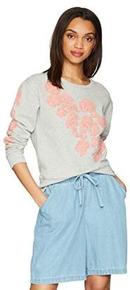 True Religion Women's Floral Applique Crewneck Sweatshirt