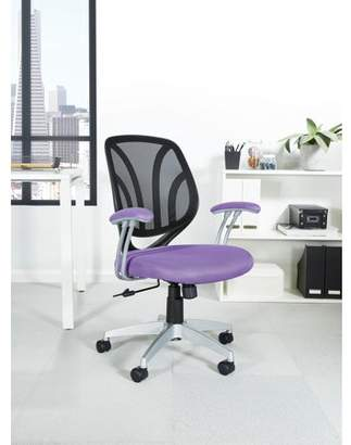 Work Smart Screen Back Chair with Orange Mesh Fabric and Silver Coated Arms and Base