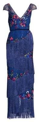 Marchesa Cap sleeve fringe gown