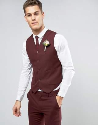 Asos DESIGN Skinny Suit Vest In Burgundy Micro Texture
