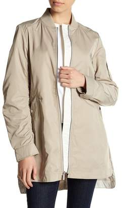 French Connection Ruched Sleeve Elongated Bomber