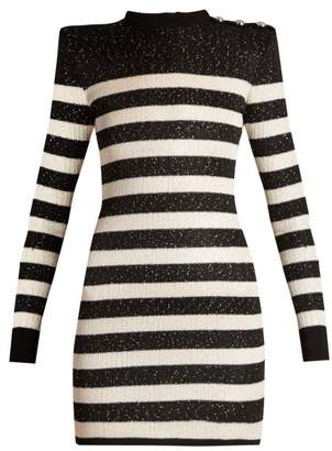 Balmain Striped Knit Micro Sequin Mini Dress - Womens - Black White