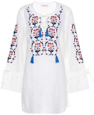 Tory Burch Wildflower embroidered linen dres