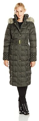 Betsey Johnson Women's Maxi Puffer Coat with Hood and Belt $145 thestylecure.com
