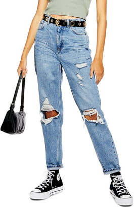 Topshop Distressed Ripped Jeans