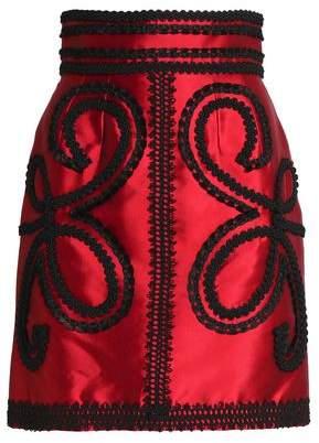 Dolce & Gabbana Appliquéd Silk-Blend Satin-Twill Mini Skirt