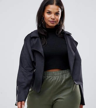 PrettyLittleThing Plus Plus faux suede biker jacket in black