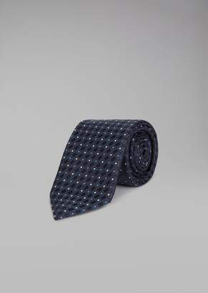 Giorgio Armani Pure Silk Tie With Polka Dot And Hatched Pattern