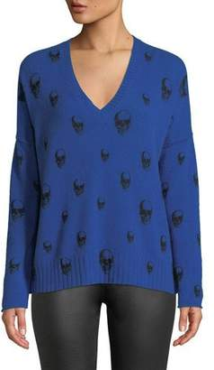 360 Sweater 360Sweater Emmett V-Neck Cashmere Sweater with Skull Print