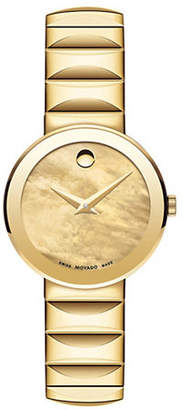 Movado Sapphire Analog Mother-of-Pearl Goldtone Bracelet Watch