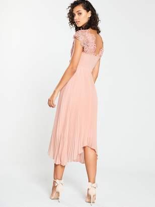 Very BridesmaidLace Top Pleated Prom Dress - Blush