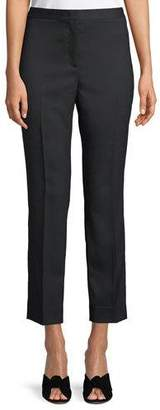 Piazza Sempione Audrey Flat-Front Straight-Leg Cropped Wool Pants