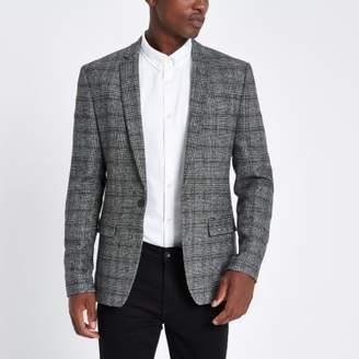 River Island Grey check skinny fit blazer
