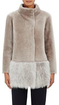 Barneys New York Women's Lamb Shearling Coat-NUDE $2,395 thestylecure.com