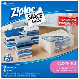 Ziploc Spacebag Organizer Set-Clear 5 count (1 Jumbo Tote, 4 Large Flat Bags)