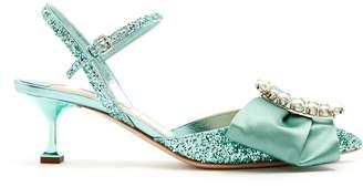 Miu Miu Glitter and buckle-embellished point-toe sandals