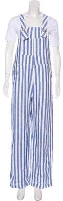 Reformation Striped Wide-Leg Overalls