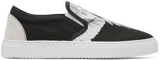 Marcelo Burlon County of Milan Black and White Snar Wing Slip-On Sneakers