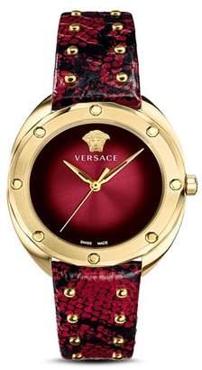 Versace Shadov Dark Red Snakeskin Watch, 38mm