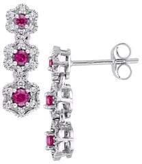 Laura Ashley Diamond Bouquet 10K White Gold 0.2 TCW Diamond Flower Dangle Earrings