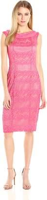 Gabby Skye Women's Cap Sleeved Crochet Lace Sheath Dress