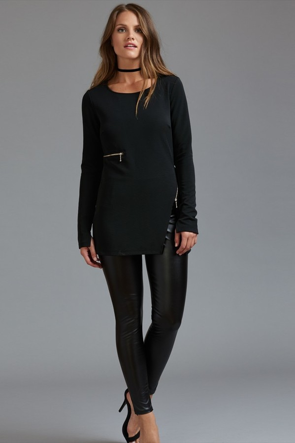 Long Sleeve tunic with Zipper Detail
