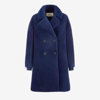 Bally Inside-Out Shearling Coat Blue, Women's lamb shearling coat in marine