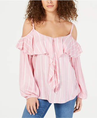 INC International Concepts I.N.C. Flounce-Trim Striped Peasant Top, Created for Macy's