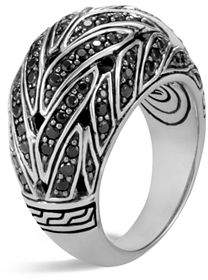 John Hardy Sterling Silver Classic Chain Dome Ring with Black Sapphire & Black Spinel