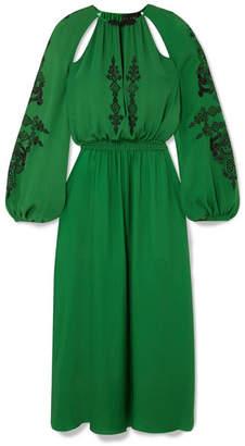 Dundas - Cutout Embellished Silk-crepe Midi Dress - Green