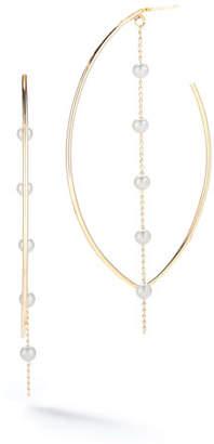 Mizuki 14k Marquise Pearl Dangle Hoop Earrings