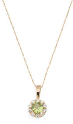 14k Rose Gold Diamond And Peridot Halo Necklace