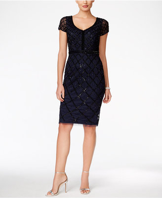Adrianna Papell Embellished Beaded Sheath Dress $279 thestylecure.com