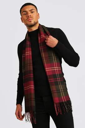 BoohoomanBoohooMAN Mens Red And Green Check Tassel Scarf, Red