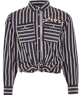 River Island Girls blue stripe embellished tie front shirt