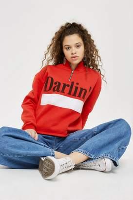 Topshop 'Darlin' Slogan Zip Sweatshirt