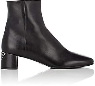 Prada Women's Logo-Heel Leather Ankle Boots - Nero