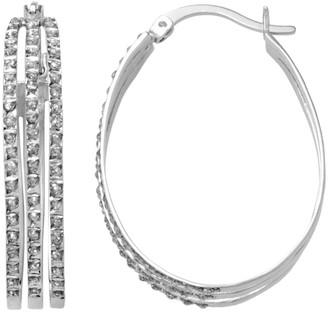 Mystique Diamond Platinum Over Silver Oval Hoop Earrings