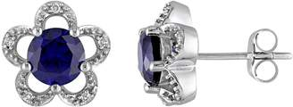 Laura Ashley 10k White Gold Lab-Created Sapphire & Diamond Accent Flower Stud Earrings $1,700 thestylecure.com