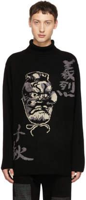 Yohji Yamamoto Black Intarsia Hannya Turtleneck