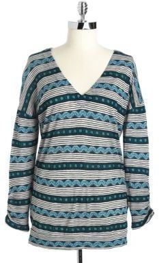 Lucky Brand PLUS Plus Printed V-Neck Top