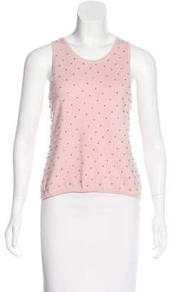 Oscar de la Renta Crystal-Embellished Sleeveless Top