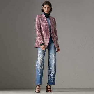 Burberry Straight Fit Postcard Print Stretch Denim Jeans