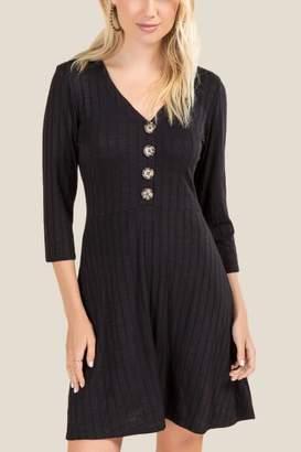francesca's Giana Button Front Knit Dress - Black