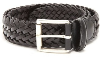 Andersons Anderson's - Woven Leather Belt - Mens - Black